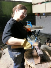 Elizabeth at Blacksmithing Class