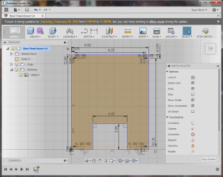 Fusion 360 drawing of panel insert